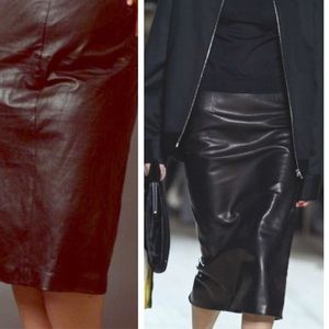 Black Leather Skirt 100% Real Genuine Leather 20
